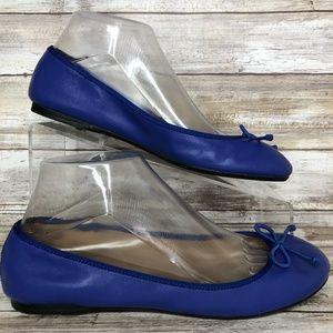 Talbots 6.5W Blue Leather Ballet Flats.